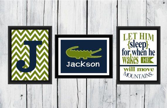 Alligator Nursery 3 Print Set Boy S Decor 8x10 11x14 Custom Colors
