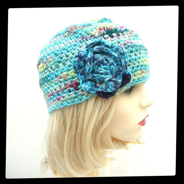 Turquoise Cloche Crochet Adult hat in Virgin wool and Viscose Detachable flower  £10.00