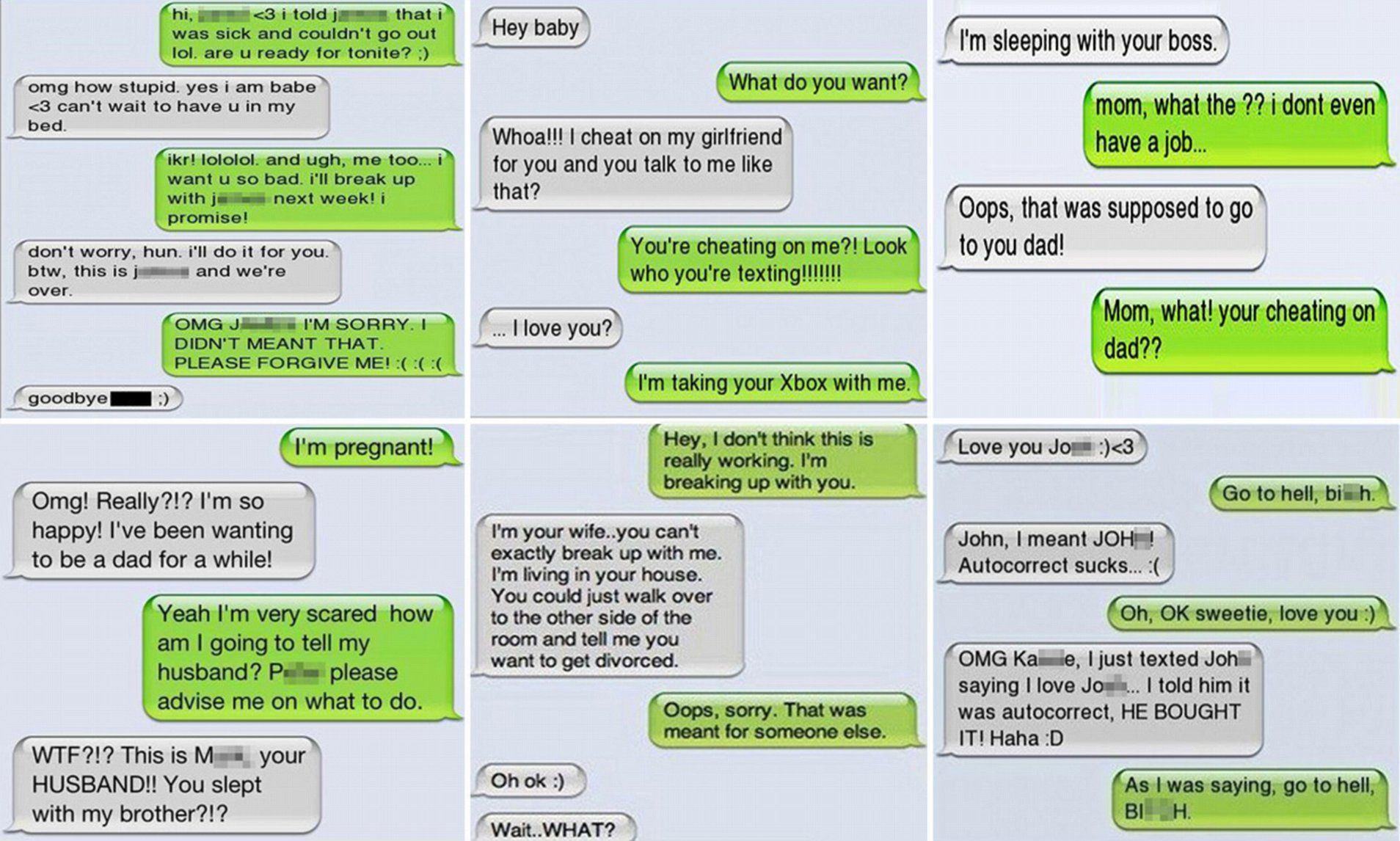 Cheaters who were found out when they text the WRONG