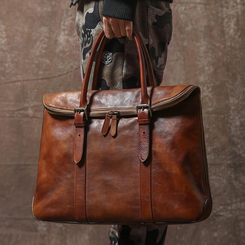 Handmade Men S Leather Briefcase 14 Laptop Bag Handbag Gr01 Lisabag