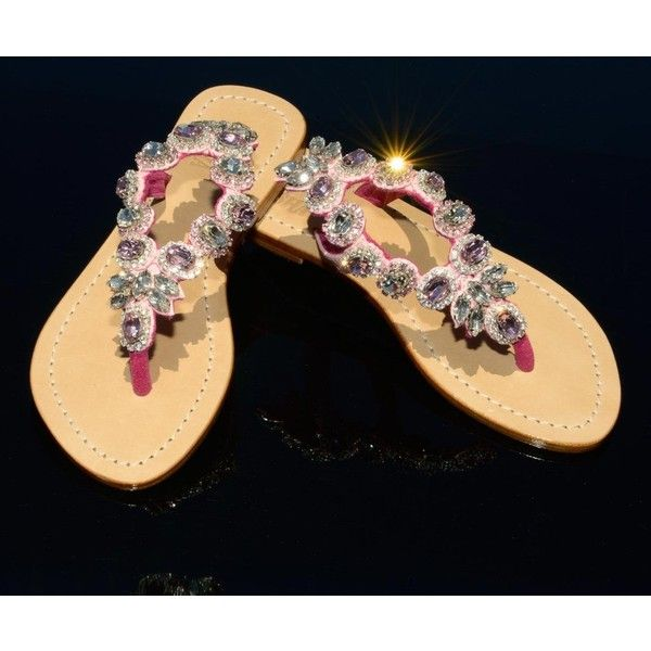 dffaca092598b Flat Sandals Genuine High Grade Leather Swarovski type Bohemian crystals by  Preciosa Handmade in Indonesia Fantastic golden gift shoe box (collapsible)  Our ...