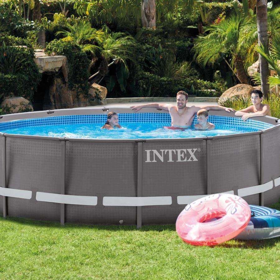 Intex 14 Ft X 14 Ft X 42 In Round Above Ground Pool At Lowesforpros Com Above Ground Swimming Pools Pool Round Above Ground Pool