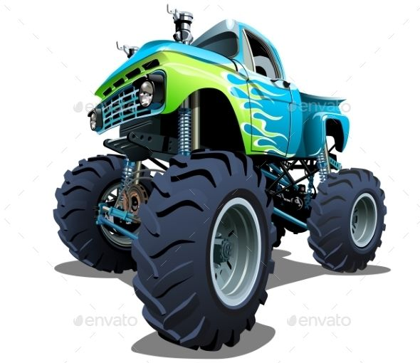 Cartoon Monster Truck Monster Trucks Monster Truck Art Cool