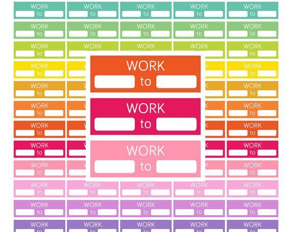 work stickers printable work planner stickerswork schedule planner
