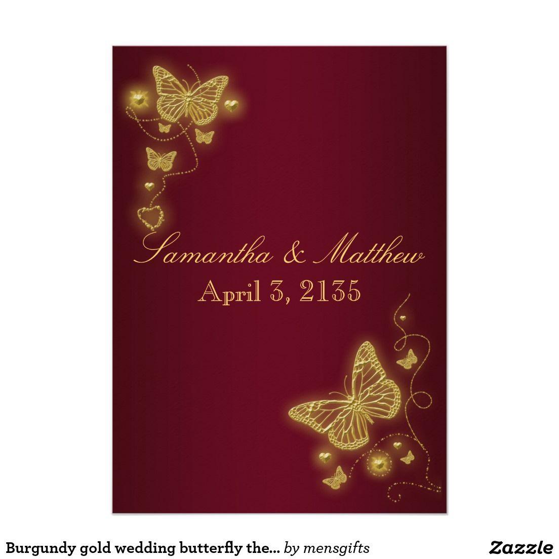 Burgundy gold wedding butterfly theme invitation   Wedding Stuff ...