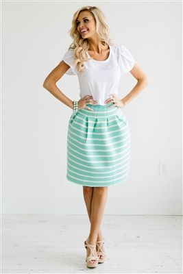 Mint Stripe Cute Modest Skirt, Spring Dresses, Church Dresses ...