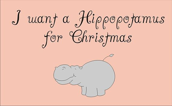 Christmas Stencil I want a Hippopotamus for by SuperiorStencils