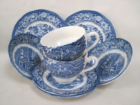 8 Pieces of Liberty Blue Staffordshire Ironstone Dinnerware Made in England | eBay & 8 Pieces of Liberty Blue Staffordshire Ironstone Dinnerware Made in ...