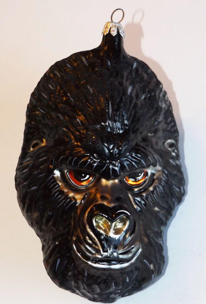 GORILLA HEAD Glass Ornament Monkey Ape Face Hand Painted Christmas Tree Art