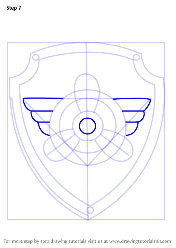 How To Draw Skye Badge From PAW Patrol   DrawingTutorials101.com