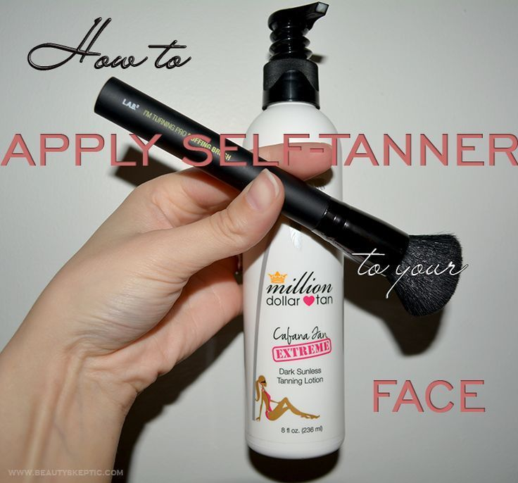 Apply selftanner to the face brush method with images