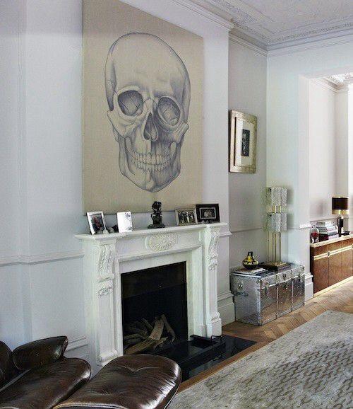Dramatic Artwork Above Fireplace Skull Decor Home Deco Decor