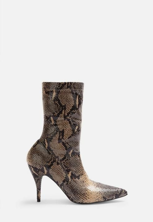 Missguided - Nude Faux Leather Snake Print Mid Heel Boots