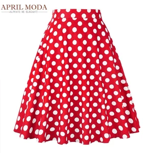 Summer Midi Skater Skirt Runway Vintage Rockabilly Skirts Red Womens 2017 Sexy Pinup 50S 60S Cotton Polka Dot Pattern Skirts
