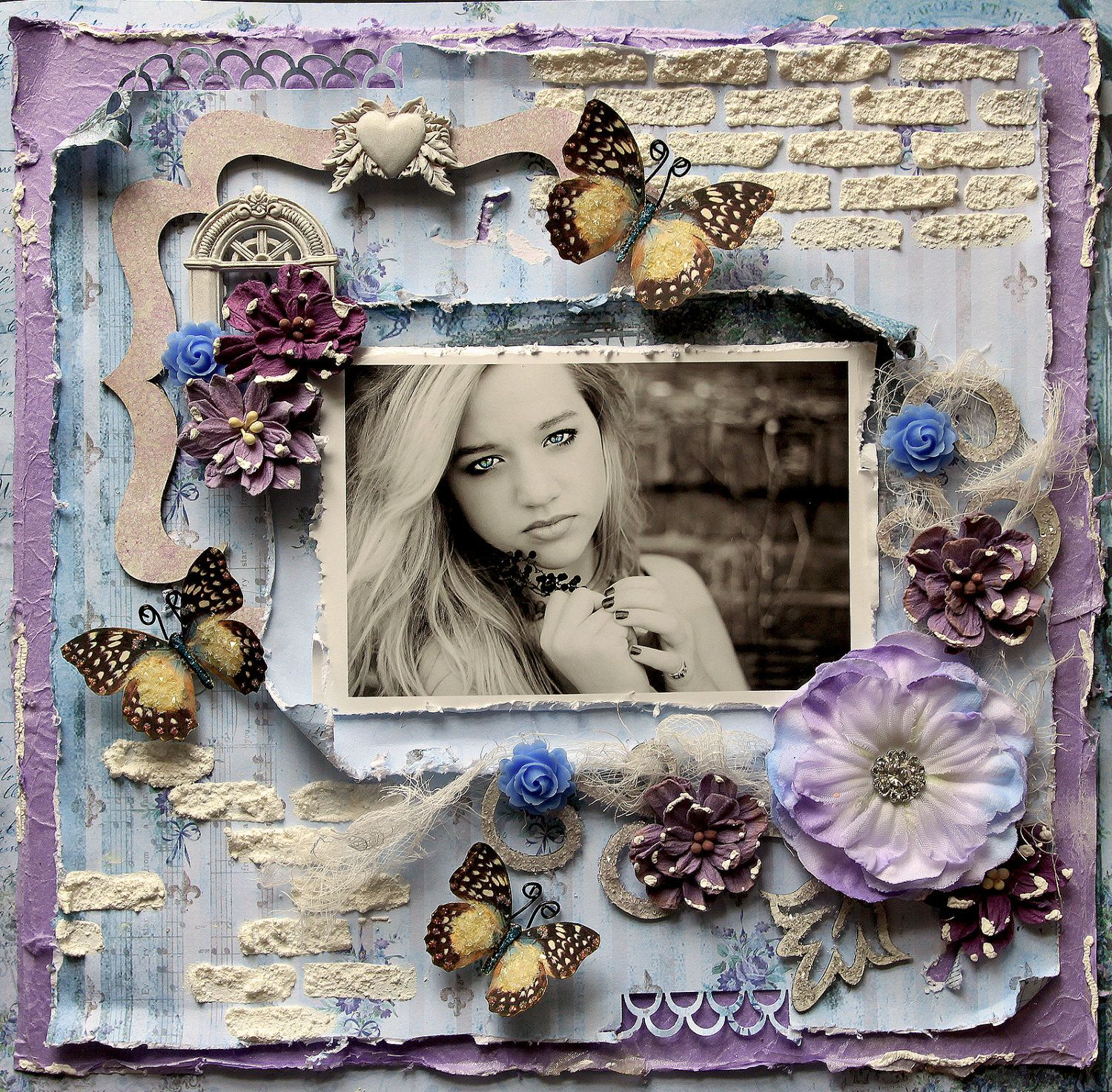 Premade Scrapbook Page 12 x 12 Shabby Chic, Art, Layout ...