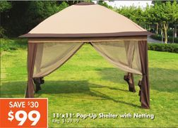 11x11 Pop Up Shelter With Netting From Big Lots 99 00 Save 30