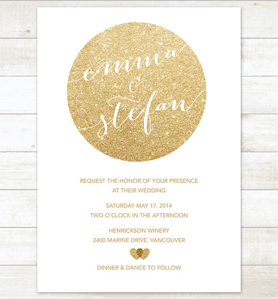 White Gold Wedding Invitation Gold Glitter Hearts