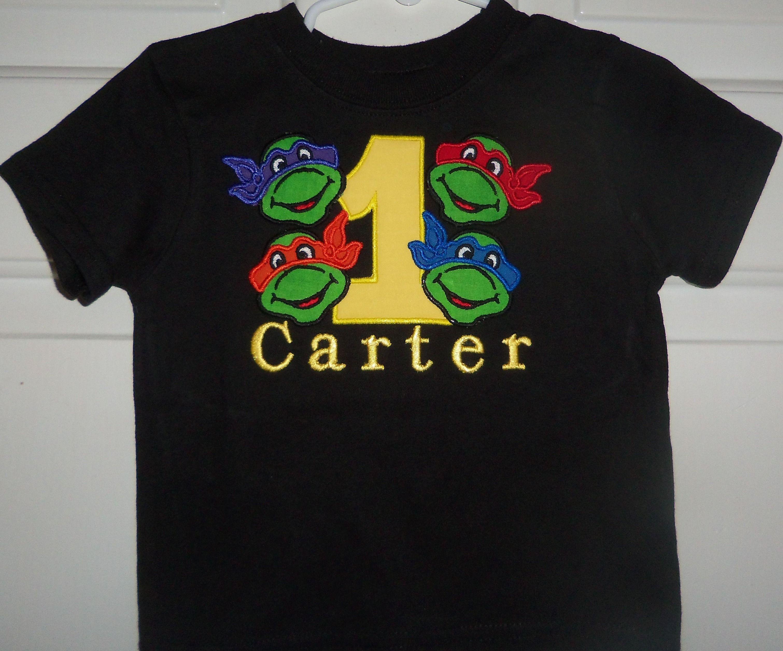 Ninja Turtle Birthday Shirt With All 4 Turtles In Sizes 12 Months Through 5t Ninja Turtle Birthday Shirt Ninja Turtle Birthday Ninja Turtles Birthday Party