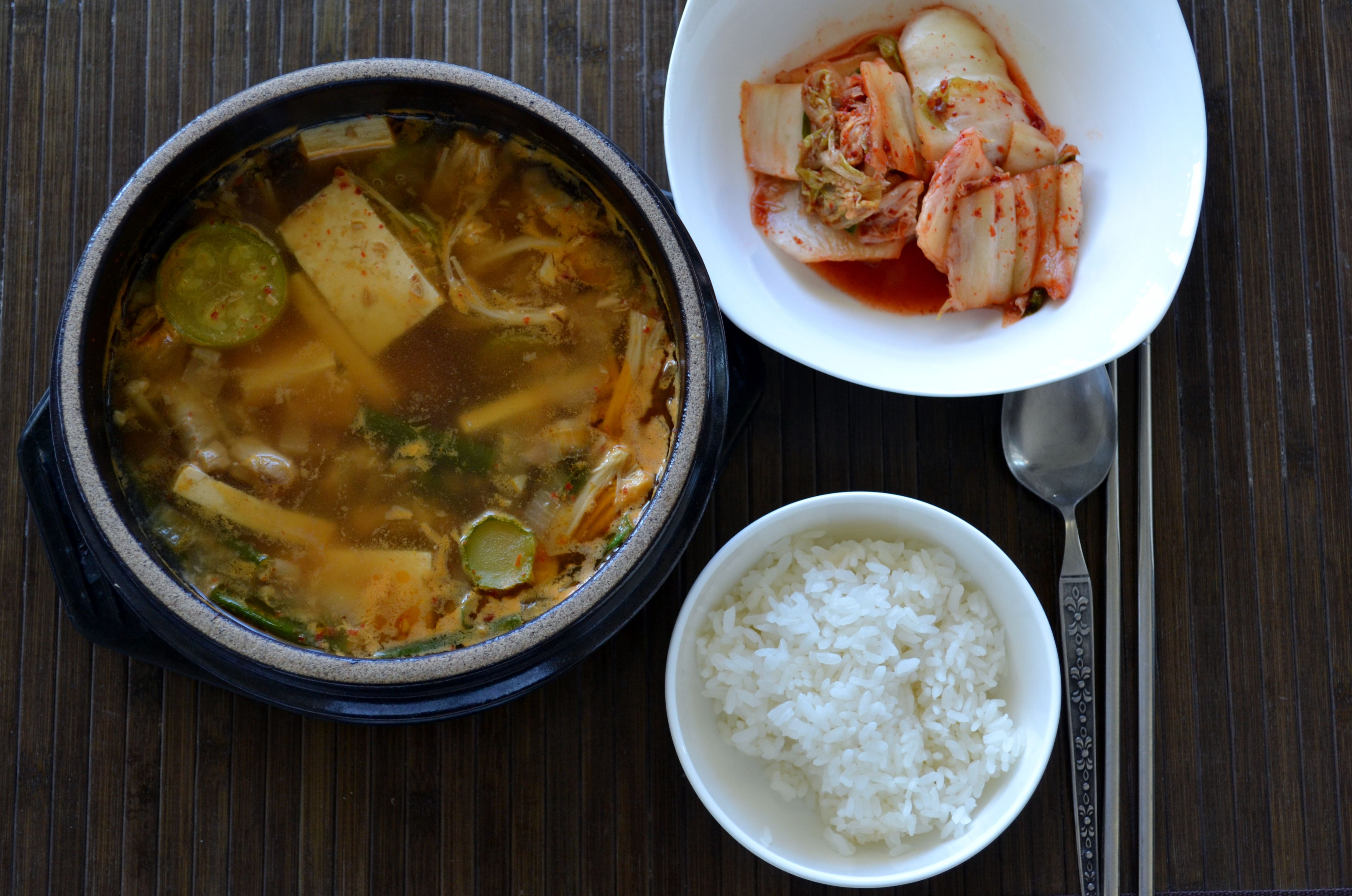 Doenjang with rice and kimchi. I miss this soup!