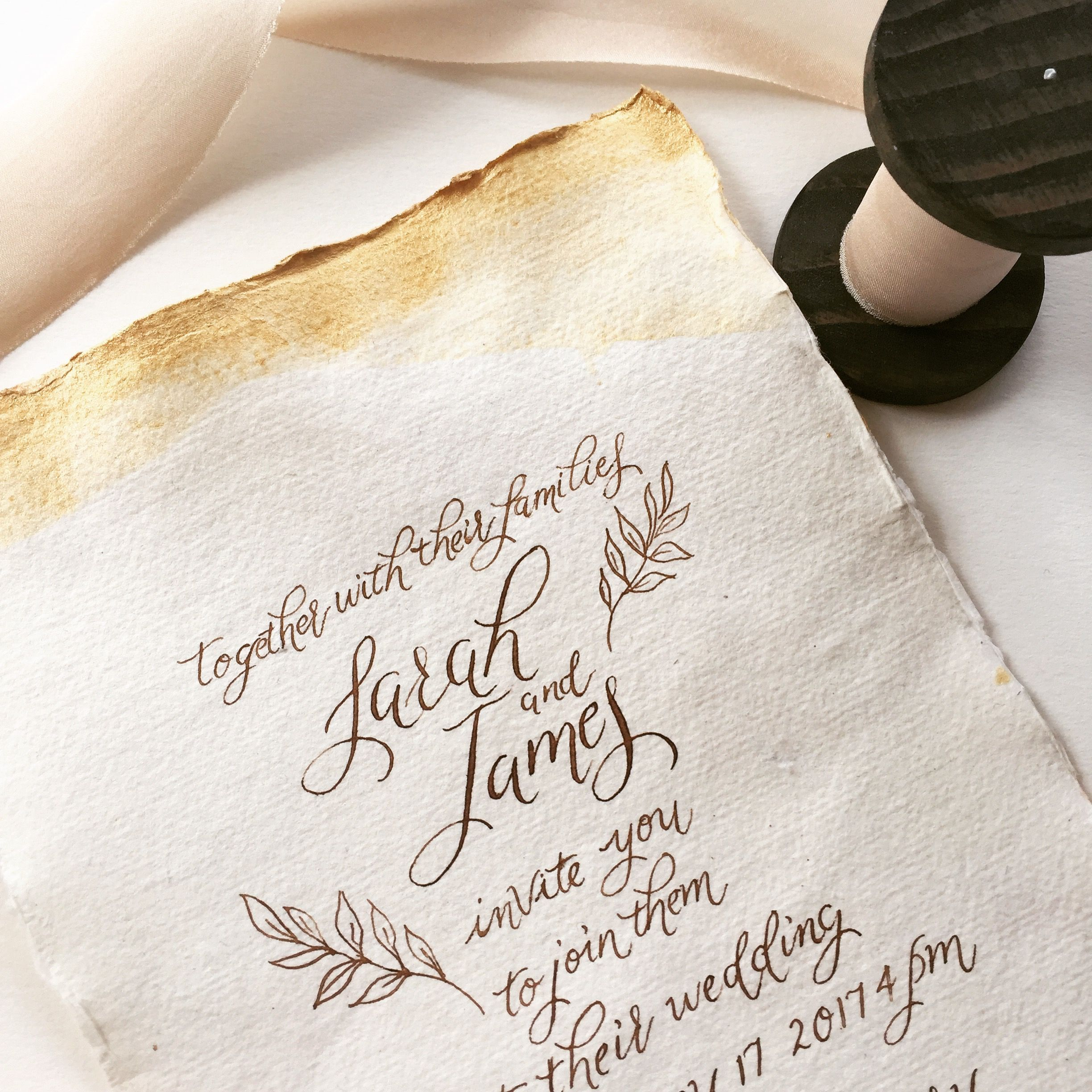 Soft Walnut Ink Calligraphy On Cream Handmade Paper And A Subtle Gold Watercolour Wash Beautiful