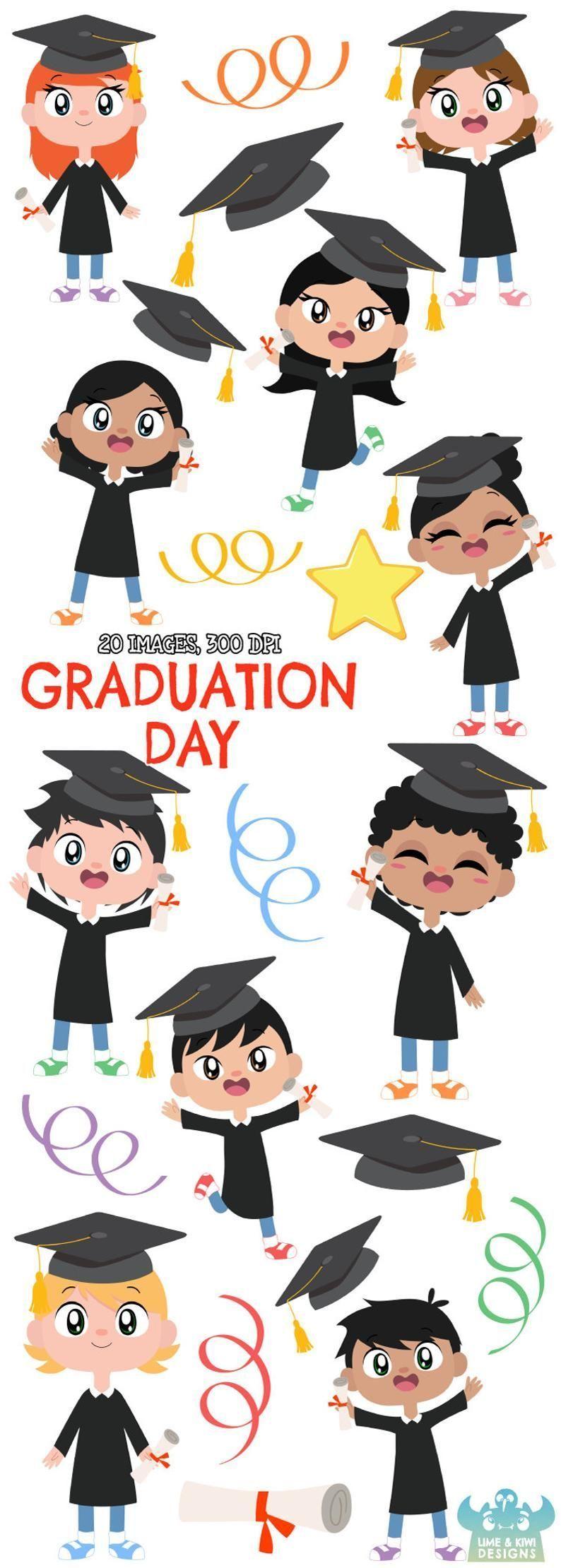 Graduation Day Clipart, Instant Download Vector Art