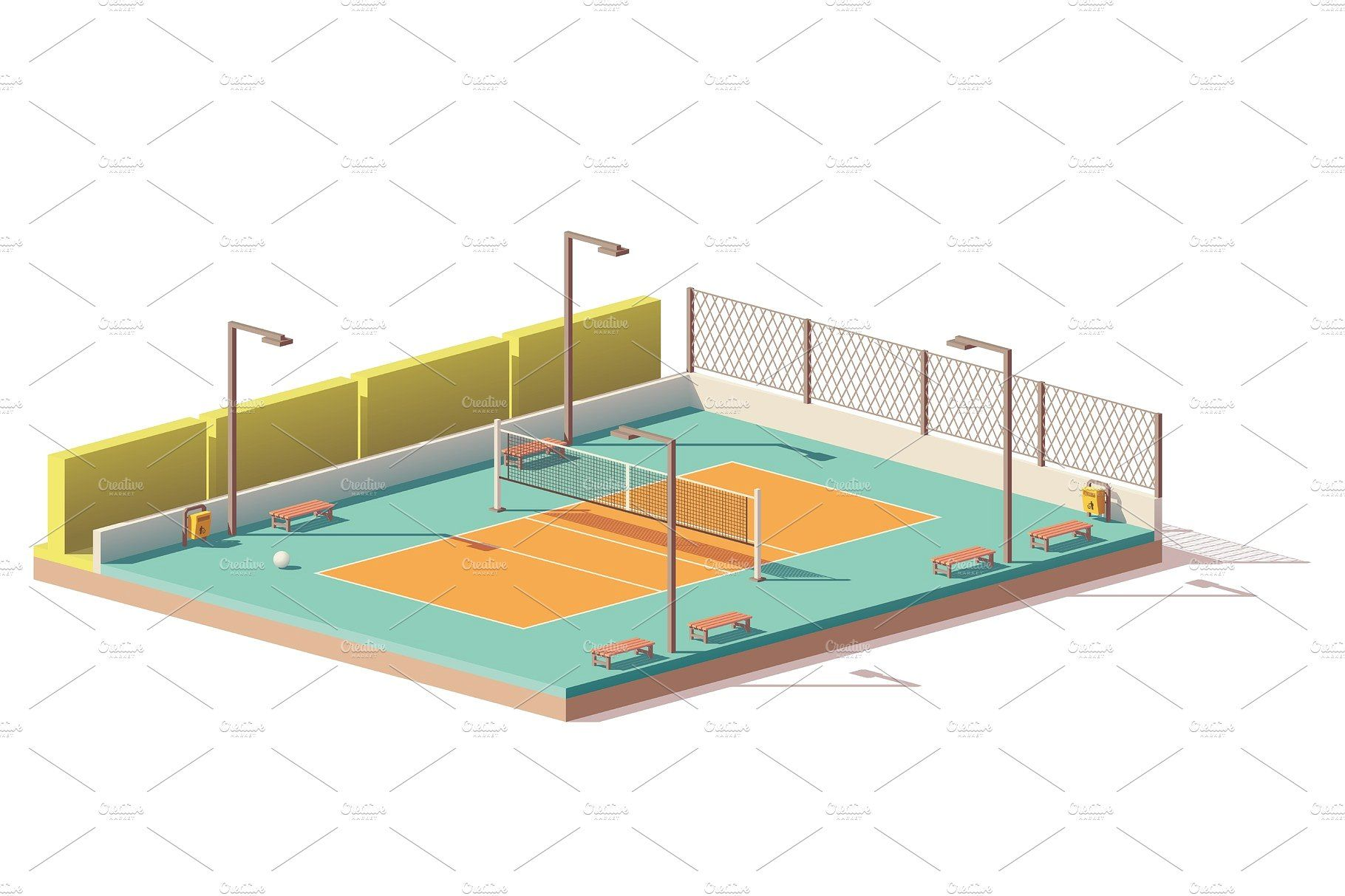 Vector Low Poly Volleyball Court Low Poly Volleyball Design Assets