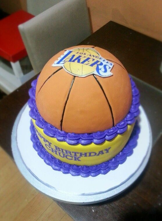 Lakers Basketball Cake Ideas | Lakers Cake | cakes for Jeremy in ...