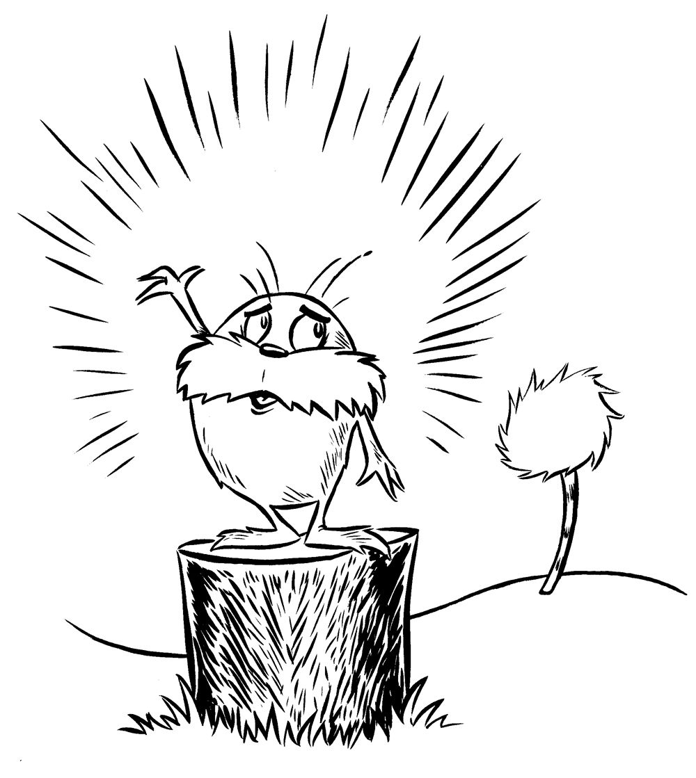Truffula Tree Coloring Pages Lorax Coloring Page Lorax Dr Seuss
