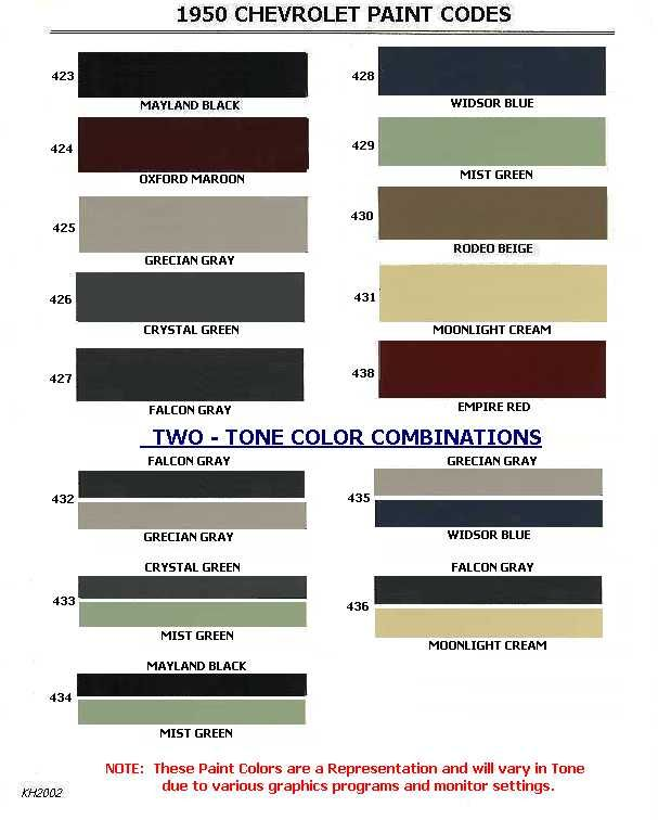 Auto Paint Codes Body Colour Color Chevrolet