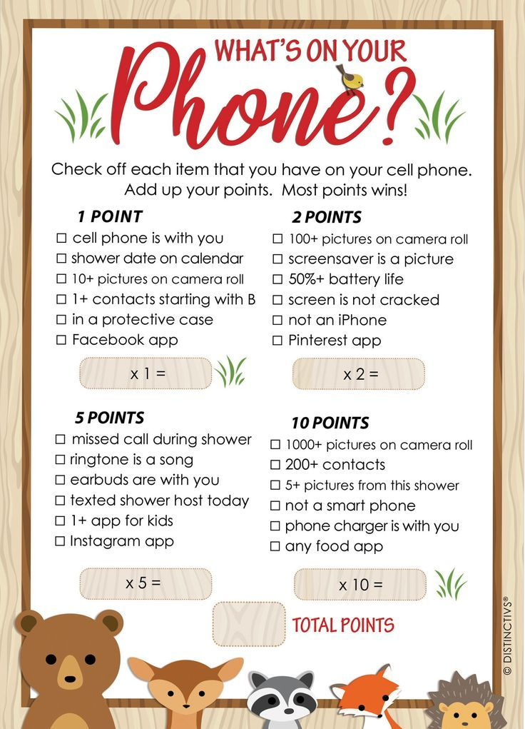 Woodland Baby Shower Game What's On Your Phone 20 Cards