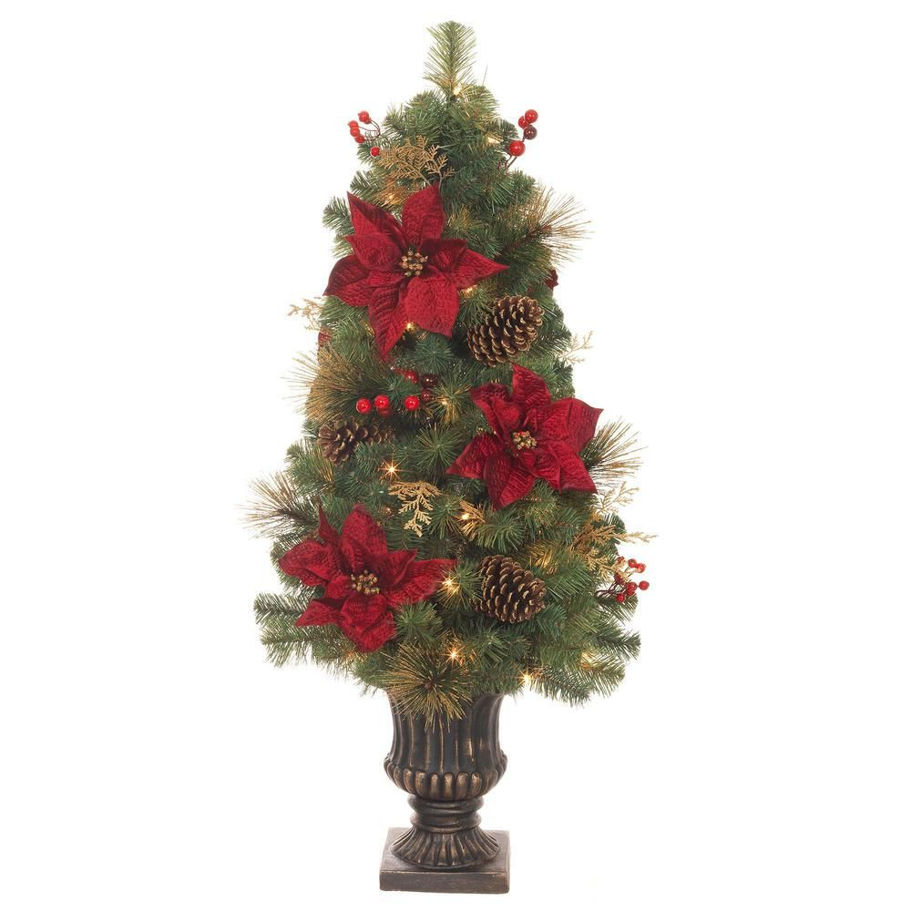 Home Accents Holiday 4 Ft Pre Lit Led Gold Glitter Cedar And