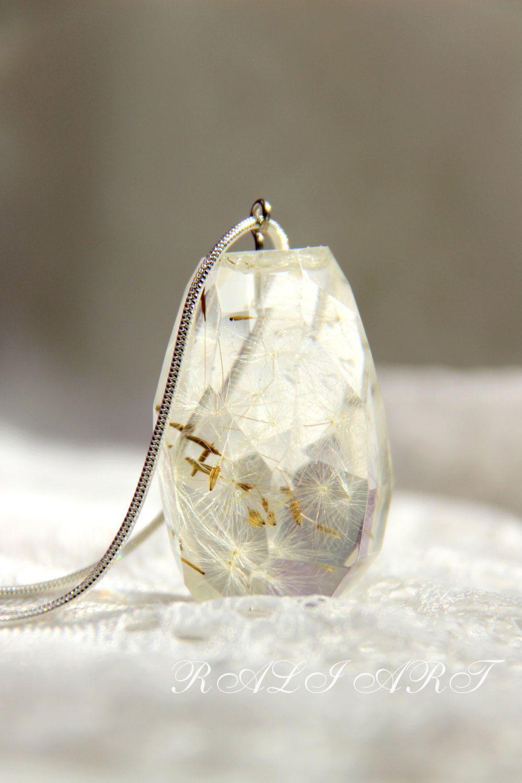Pendant gift, Dandelion necklace Pendant resin dandelion puffs, pendant OOAK Pendant dandelion, resin dandelion, pendant faceted water drop by RALIJEWELLERY on Etsy