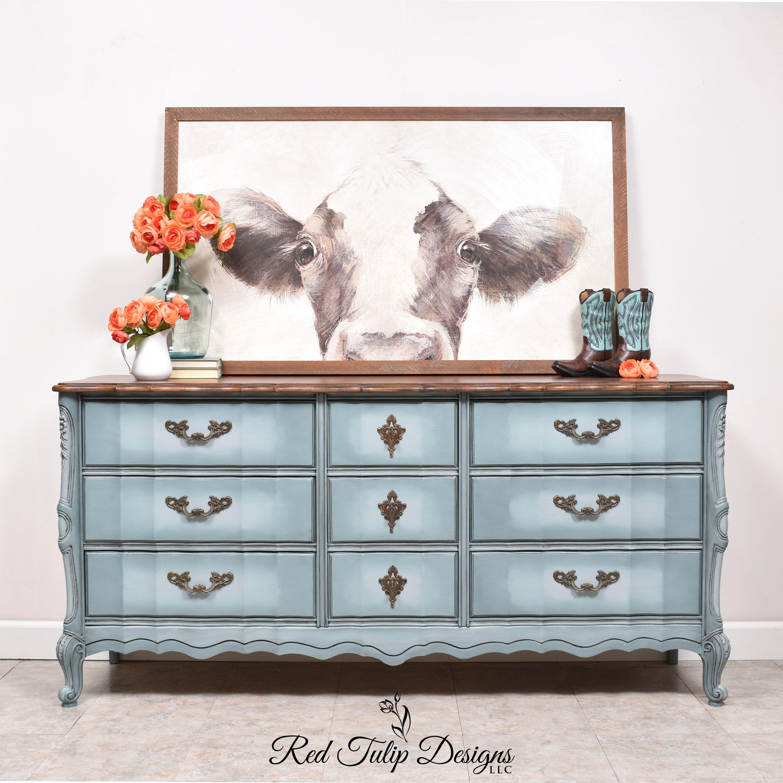 Refinished French Provincial Nine Drawer Dresser Blended ...