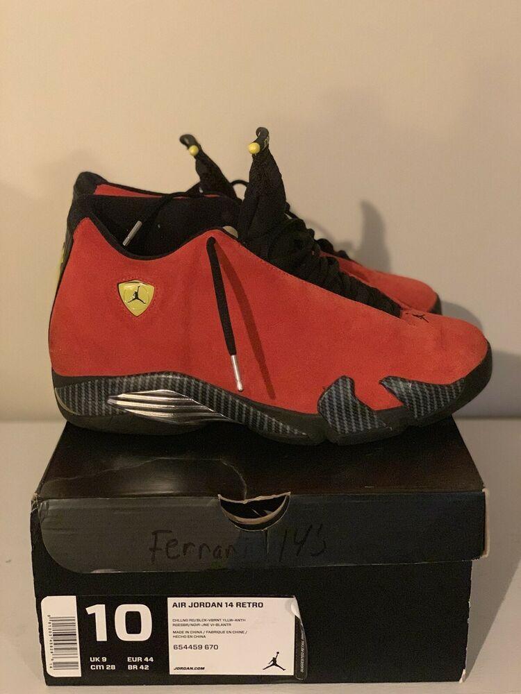 Air Jordan Retro 14 Ferrari Ivx Red Size 10 Used Ds Rare Limited Last Shot Air Jordans Retro Jordan Retro 14 Air Jordans