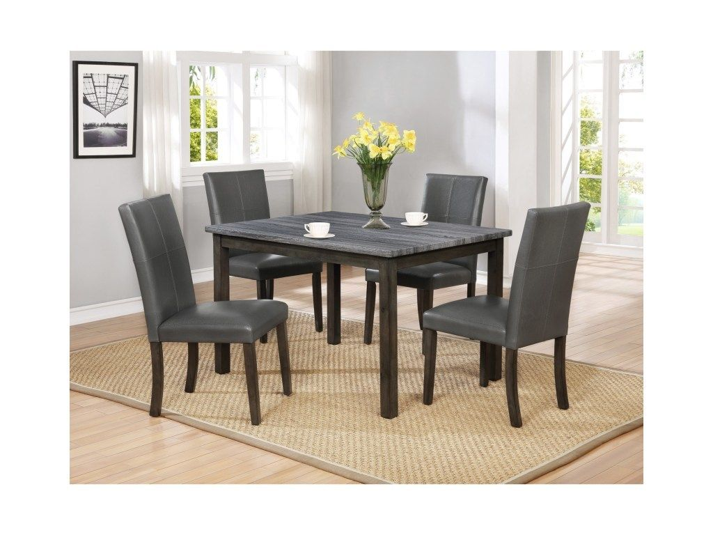 Crown Mark 5pc Pompei Collection Dining Set Marble Dining Table