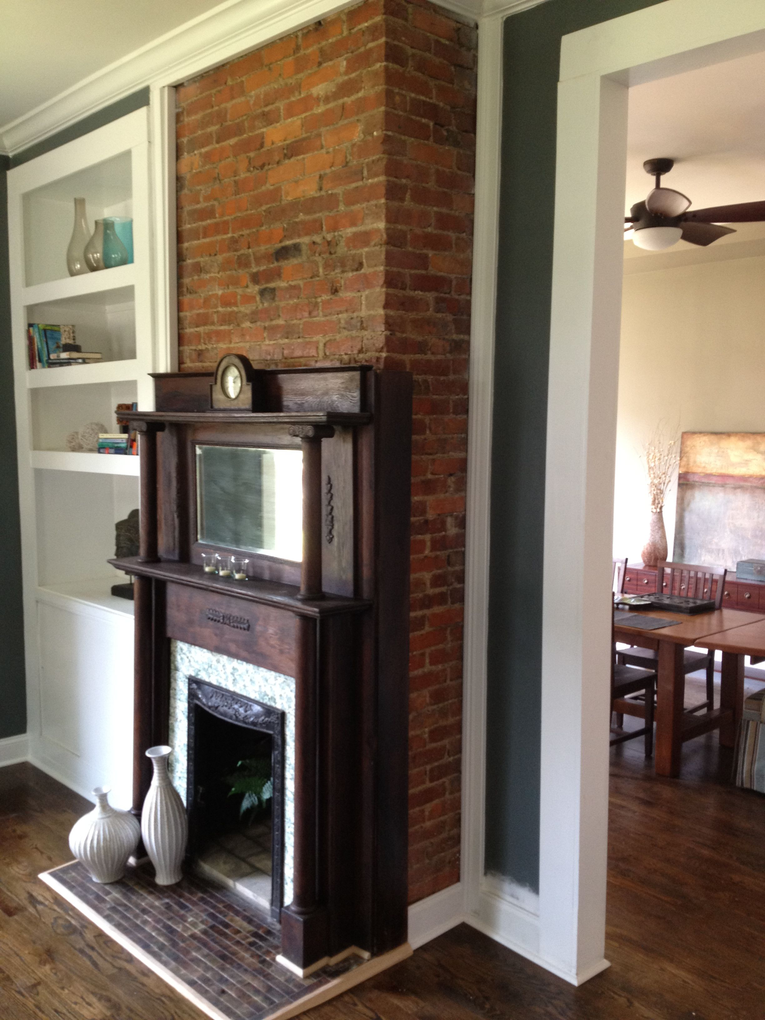 Finished living room fireplace