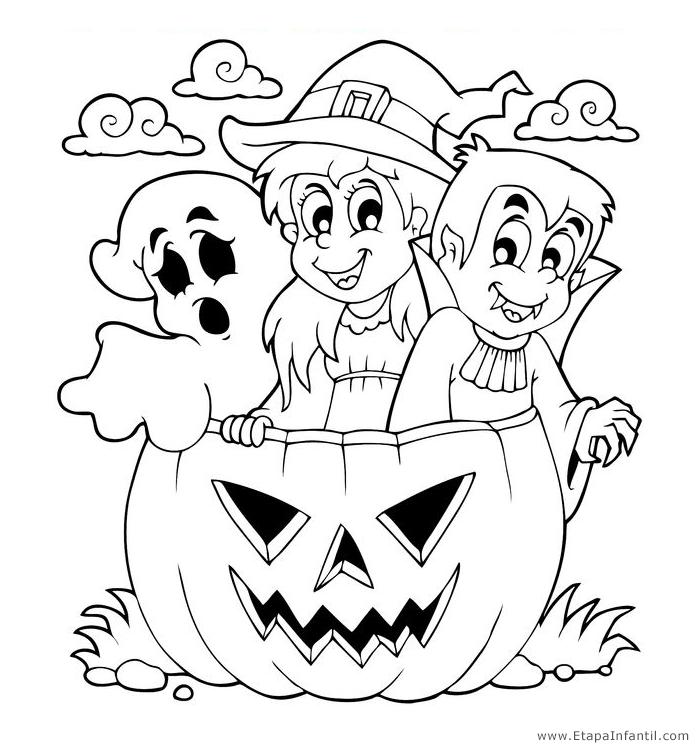 Dibujos De Fantasma Bruja Y Vampiro Para Imprimir Y Colorear En Halloween Dibujos De Halloween Halloween Para Colorear Libro De Colores