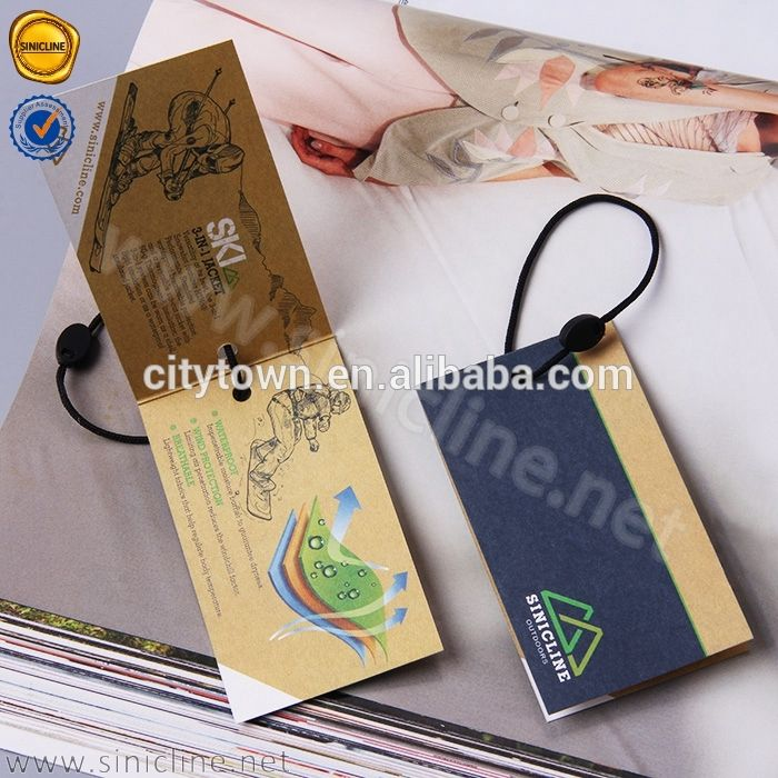 Finest Sinicline 2017 latest fancy design fold over hang tag with string  UR17