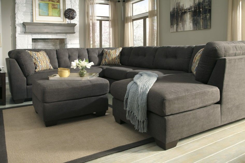 Contemporary Grey Sectional Sofa Chaise Tufted Back Cushion Three Decorative Throw Pillow Matchin Sectional Sofa With Chaise Grey Sectional Sofa Sectional Sofa
