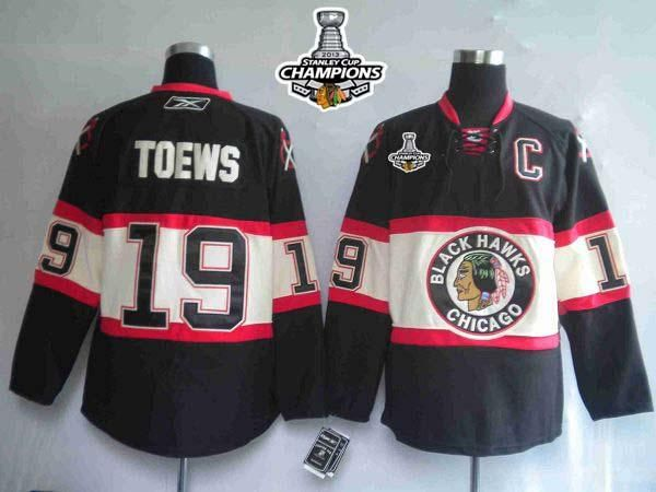 b5141193ab7 Blackhawks #19 Jonathan Toews Embroidered Black New Third Stanley Cup  Champions NHL Jersey