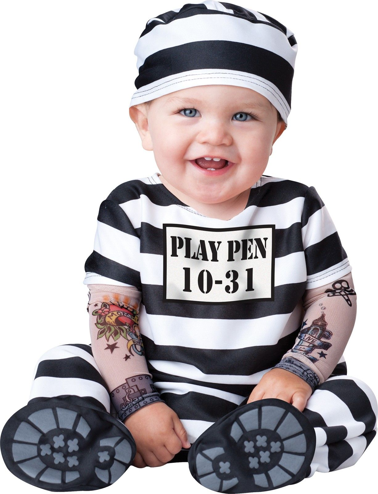Baby Pirate Convict Biker Costume Kids Prisoner Girls Boys Fancy Dress Outfit