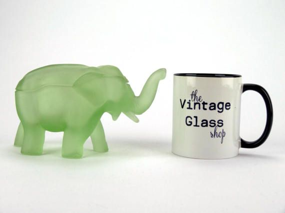 Frosted green glass elephant jar Tiara Exclusive by the