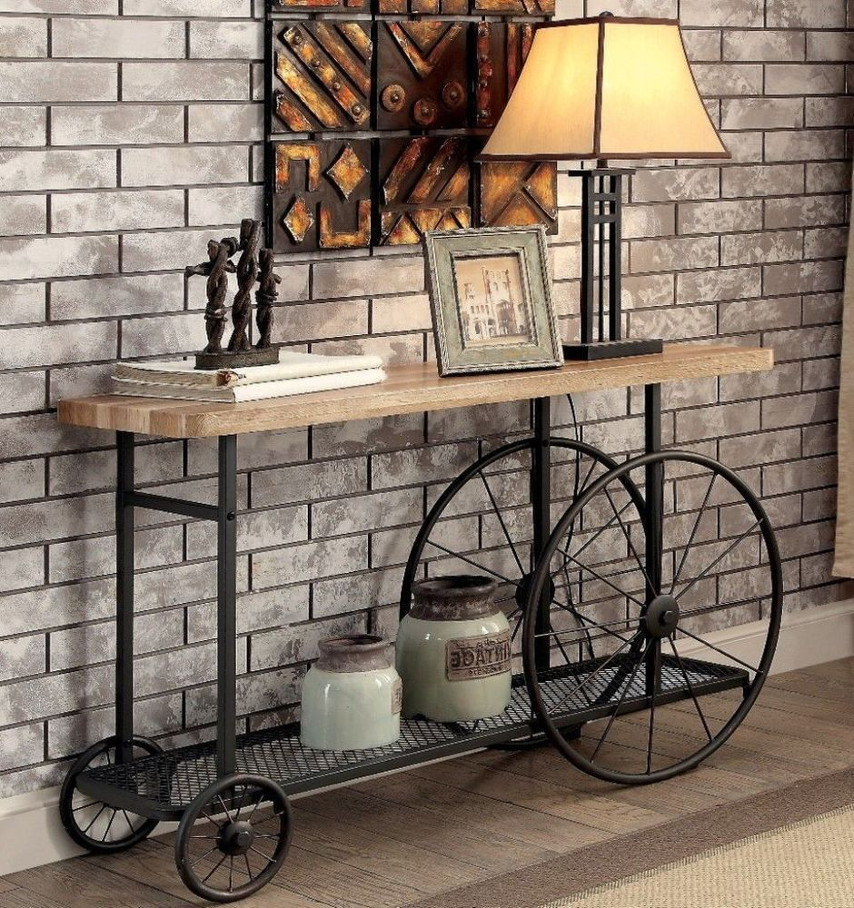 Industrial Style Sofa Table Sand Black Decorative Caster Wheels Home Furniture Table Vintage Decor Decor Contemporary Home Decor