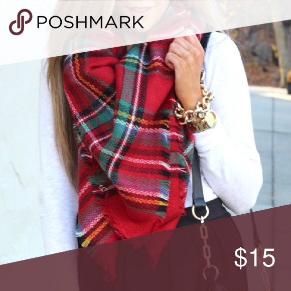 {modcloth} style 🌿 red plaid blanket scarf Red Tartan Plaid Blanket Scarf  ••• Material- Acrylic (feels like very soft Wool) Great Condition ~~~ Absolutely adorable red plaid blanket scarf.  Super soft and gorgeous for any winter or fall outfit, or any Plaid lover!  Not modcloth but a similar style. 🌿Vegan Friendly🌿 ModCloth Accessories Scarves & Wraps