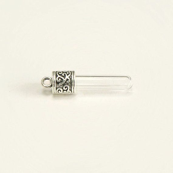 6mm Glass Tubes Vial Pendants Ornate Caps 6mm Vials Bottles Miniature Tiny Celtic Scandinavian Silver Tops Lids Empty Crematio Pendants Necklace Craft Jewelry