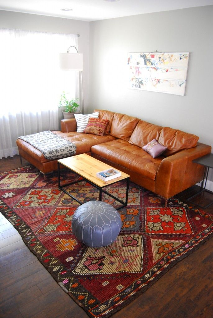 Modern Classic Living Room Leather Sofa Moroccan