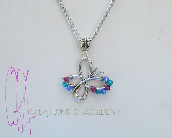 db696398e **ALL NECKLACES ARE MADE TO ORDER** Simple Butterfly Shaped wire wrapped  Thyroid Cancer Awareness Necklace with genuine Swarovski crystal