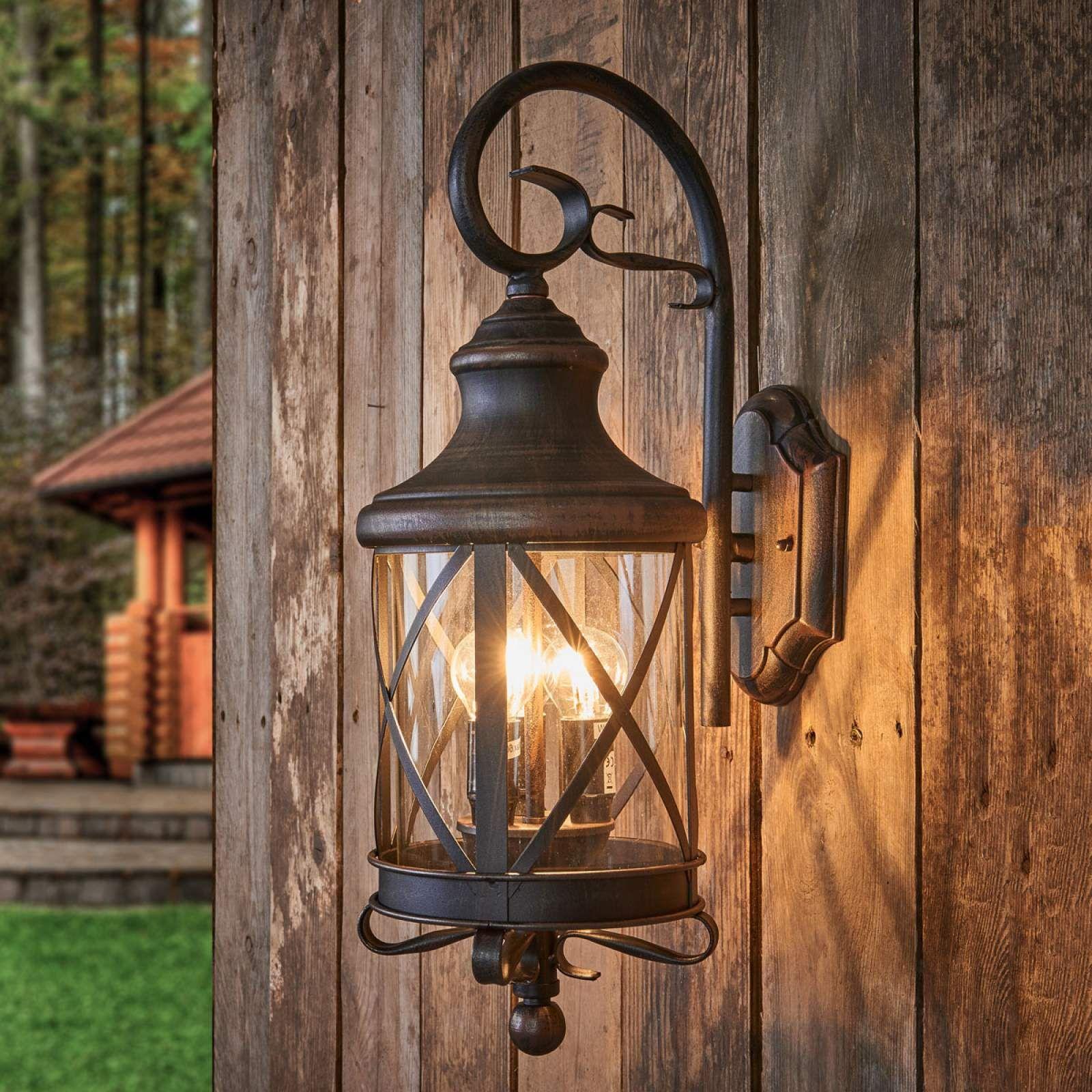 Rustikale LED Wand Beleuchtung Veranda Außen Lampe ALU Laterne Garten Leuchte