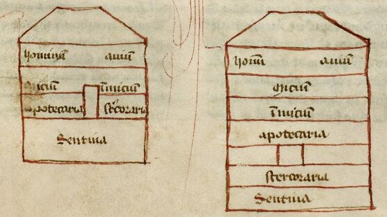 detail of two diagrams of noah s ark labelled with the functions of rh pinterest com Noah's Ark Two by Two Noah's Ark Info