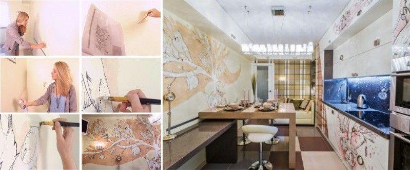 Этапы рисования на стене своими руками